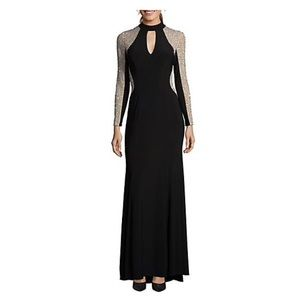 Xscape black beaded gown